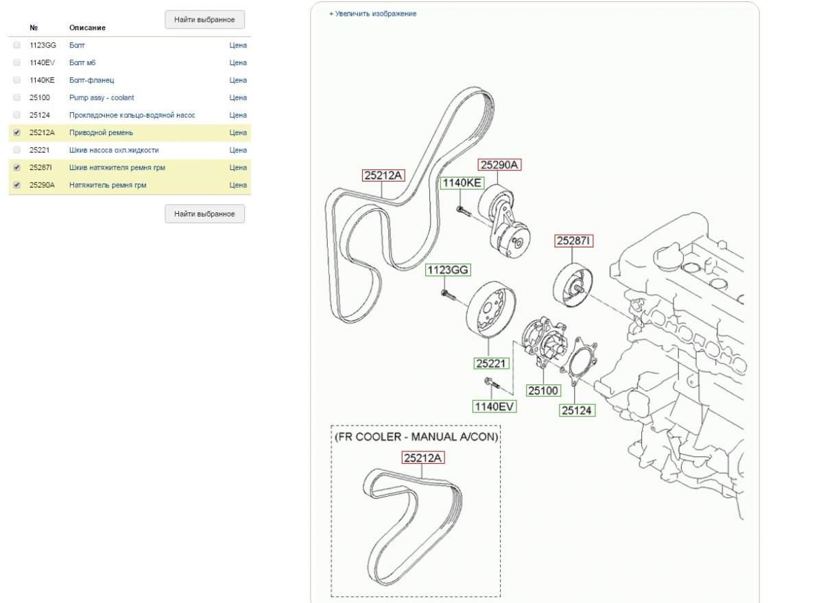 Схема приводного ремня киа церато 1.6